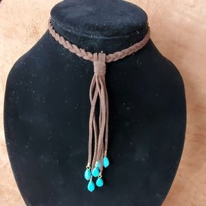 Brown leather choker with dangled turquoise
